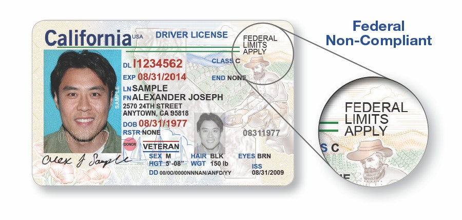An example of a noncompliant driver's license