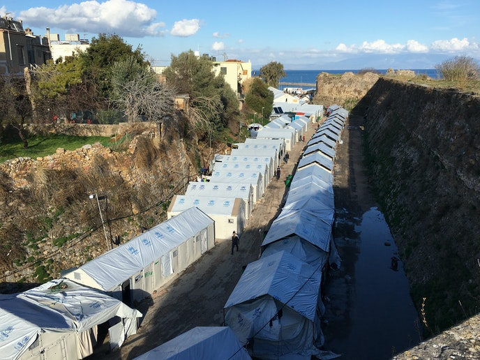 The Souda camp's refugee tents, as seen from above