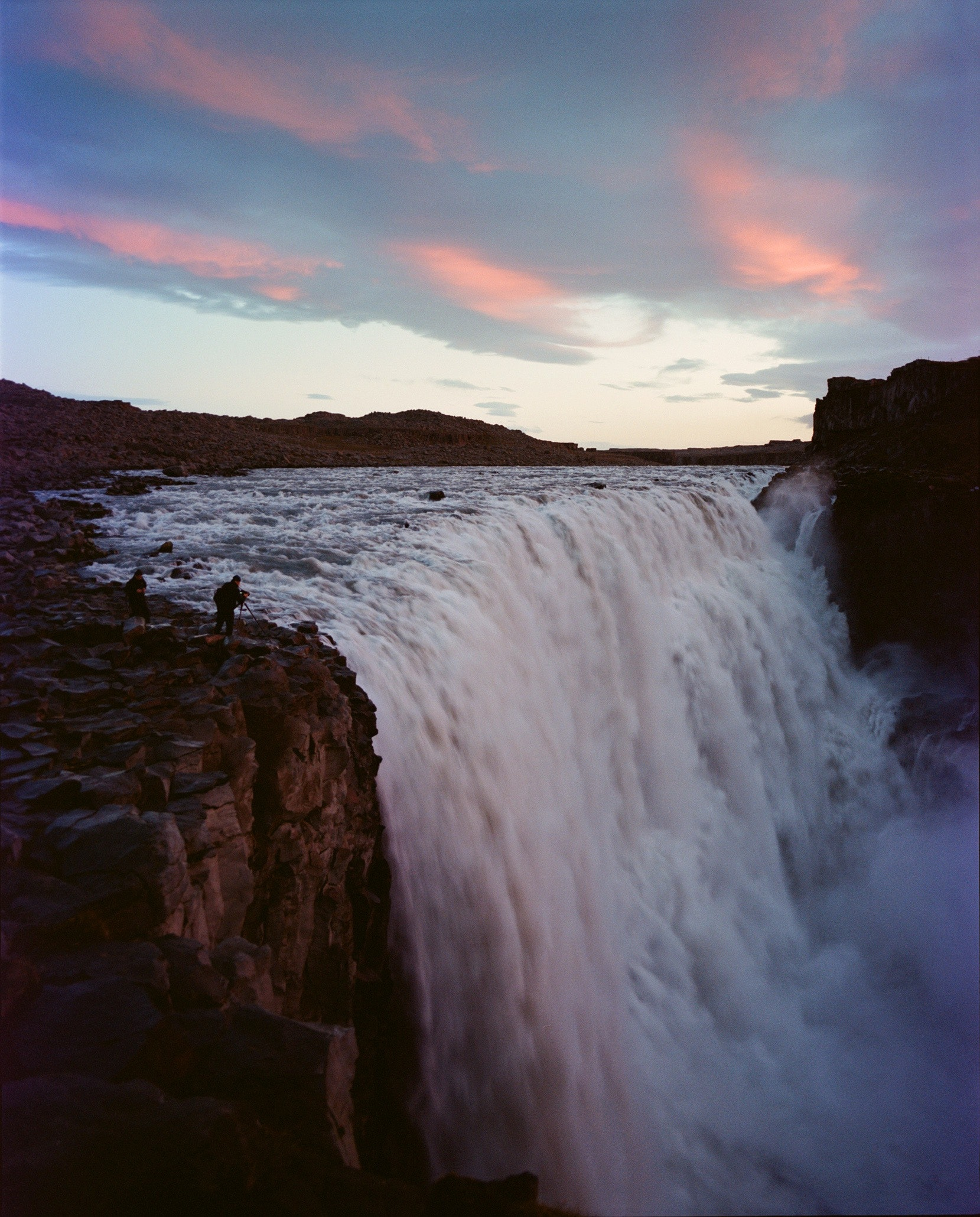 Dettifoss, a remote waterfall in northeast Iceland, is thought to be the most powerful waterfall in Europe. And no, there are no protective guardrails.
