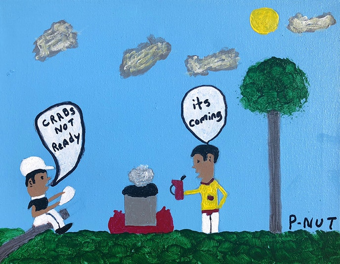 """Just Chillin', a painting by Joseph """"P-Nut"""" Johnson, is part of an exhibit that runs through July 13."""