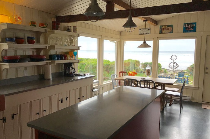 Even the kitchen has ocean views at this Arch Cape beach house.