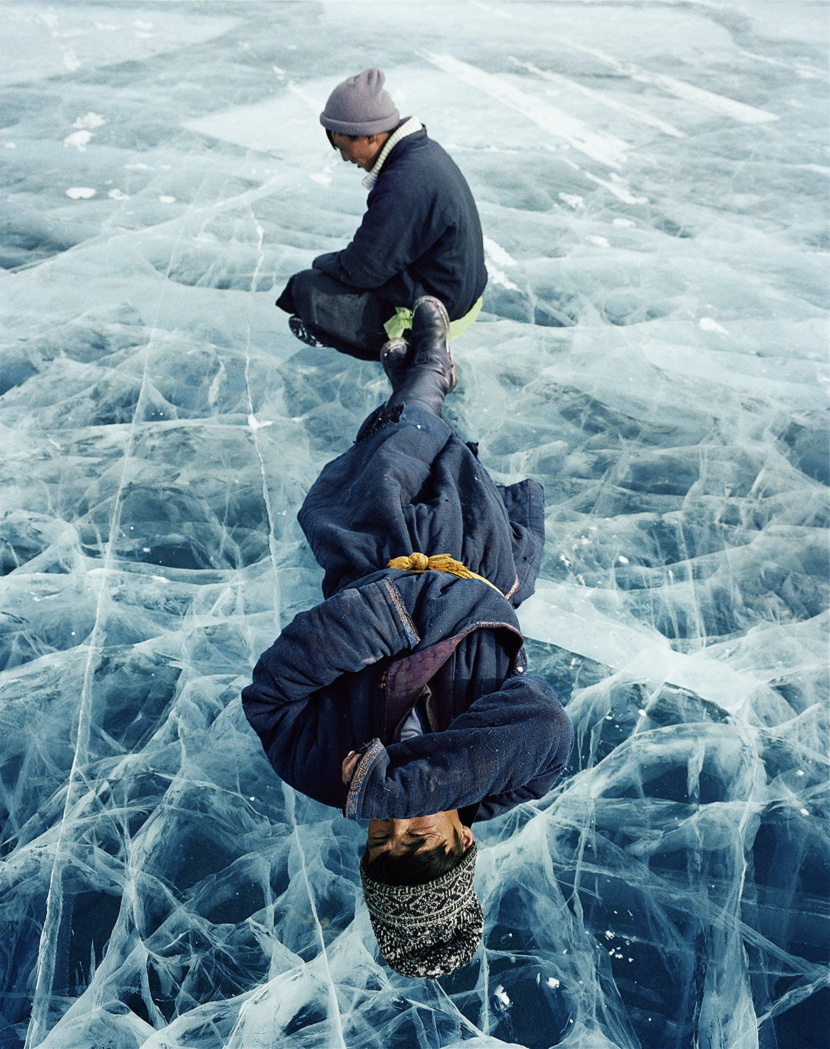 Lake Khövsgöl, located near Mongolia's northwestern border with Russia, holds almost 70 percent of Mongolia's fresh water. During winter, the lake's surface freezes over completely.