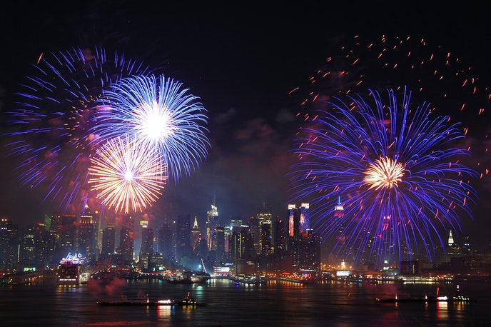 New York City's annual Fourth of July fireworks show lights up the Manhattan skyline.