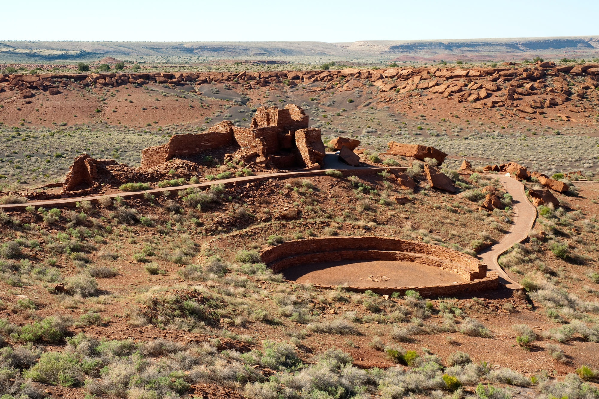 The Wupatki Pueblo is among the largest of the Colorado Plateau and consists of over 100 rooms and a ball court.