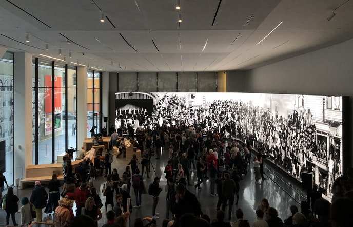 The mural will be on display in the Roberts Family Gallery through April 27, 2020.
