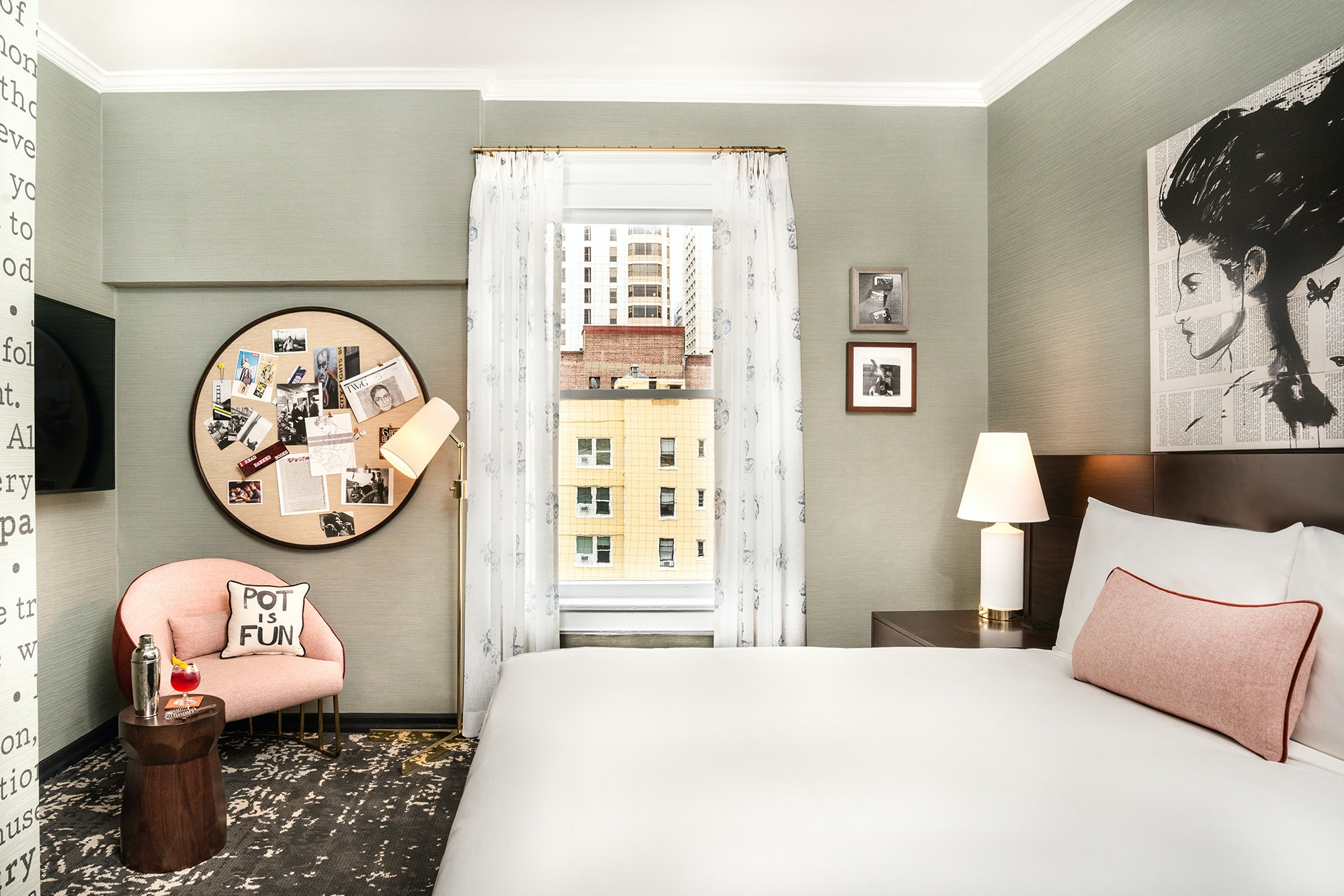 A deluxe queen room at the new Hotel Emblem.