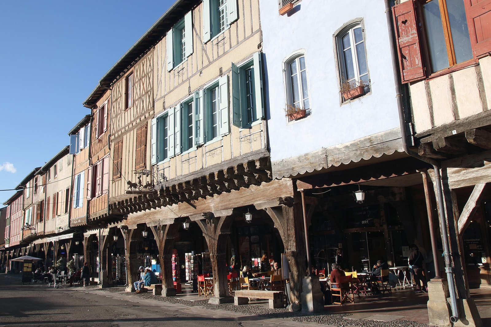 Mirepoix is lined with 13th-century timbered houses.