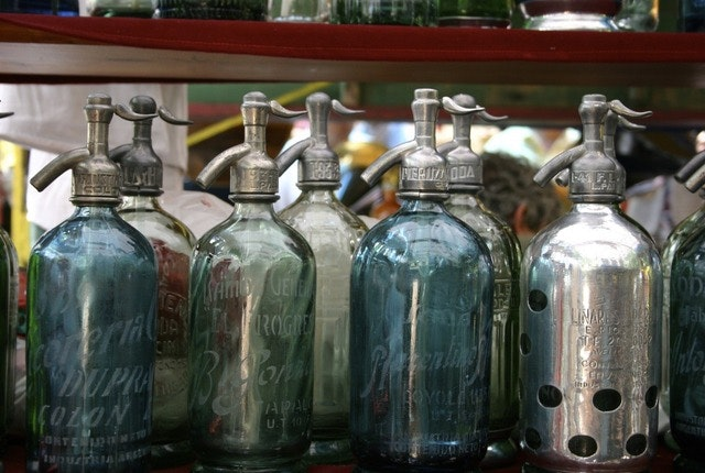 The famous vintage seltzer bottles at San Telmo