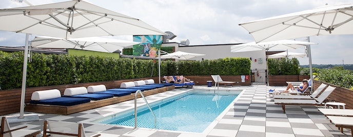 The rooftop pool at the Perry Lane Hotel offers a skyline view of the city.