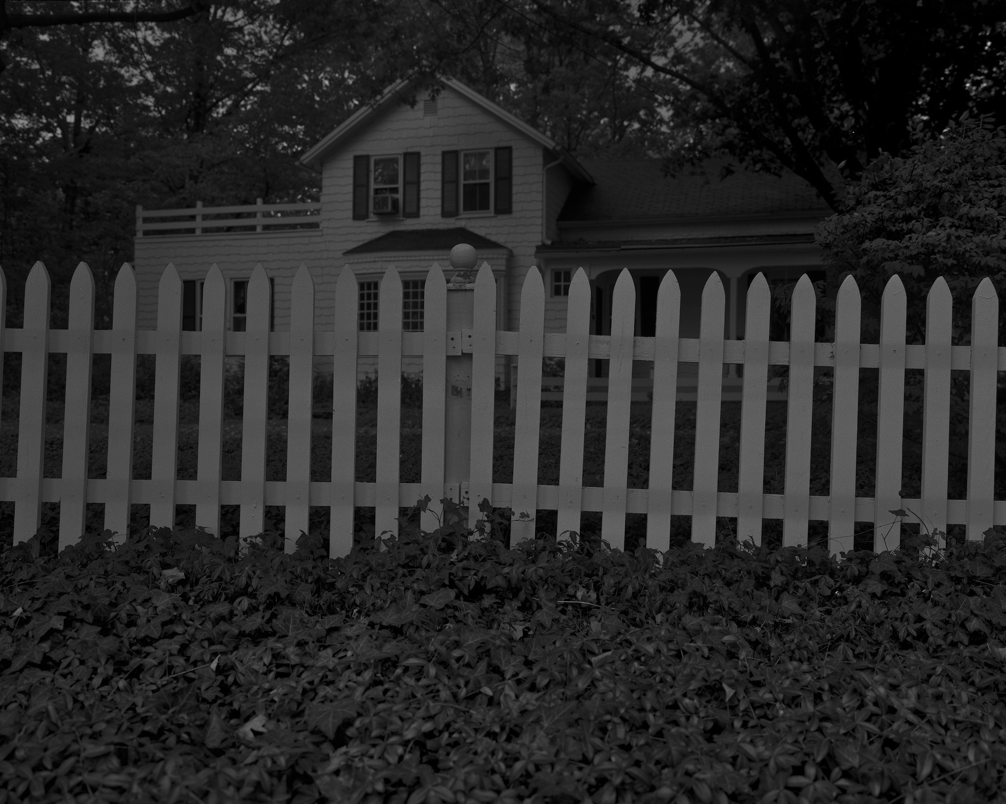 "Dawoud Bey, ""Untitled #1 (Picket Fence and Farmhouse),"" from the series Night Coming Tenderly, Black (2017)"