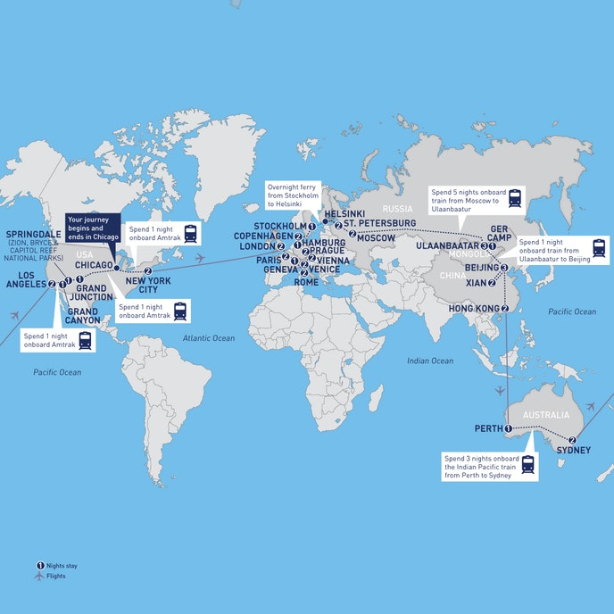 The full itinerary of Railbooker's Around the World by Rail trip.