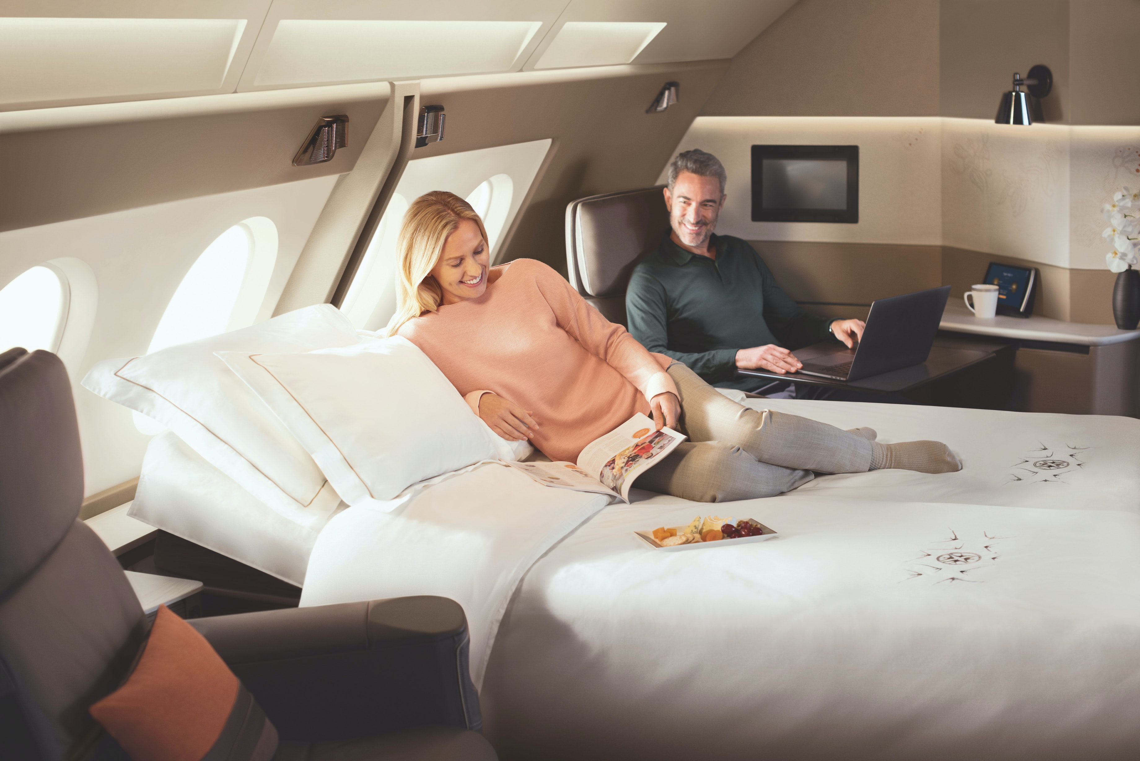 The double beds on the Singapore Airlines A380