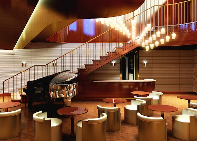 Wake, a 5,866-square-foot restaurant at the aft of the Scarlet Lady, was designed by Roman and Williams.