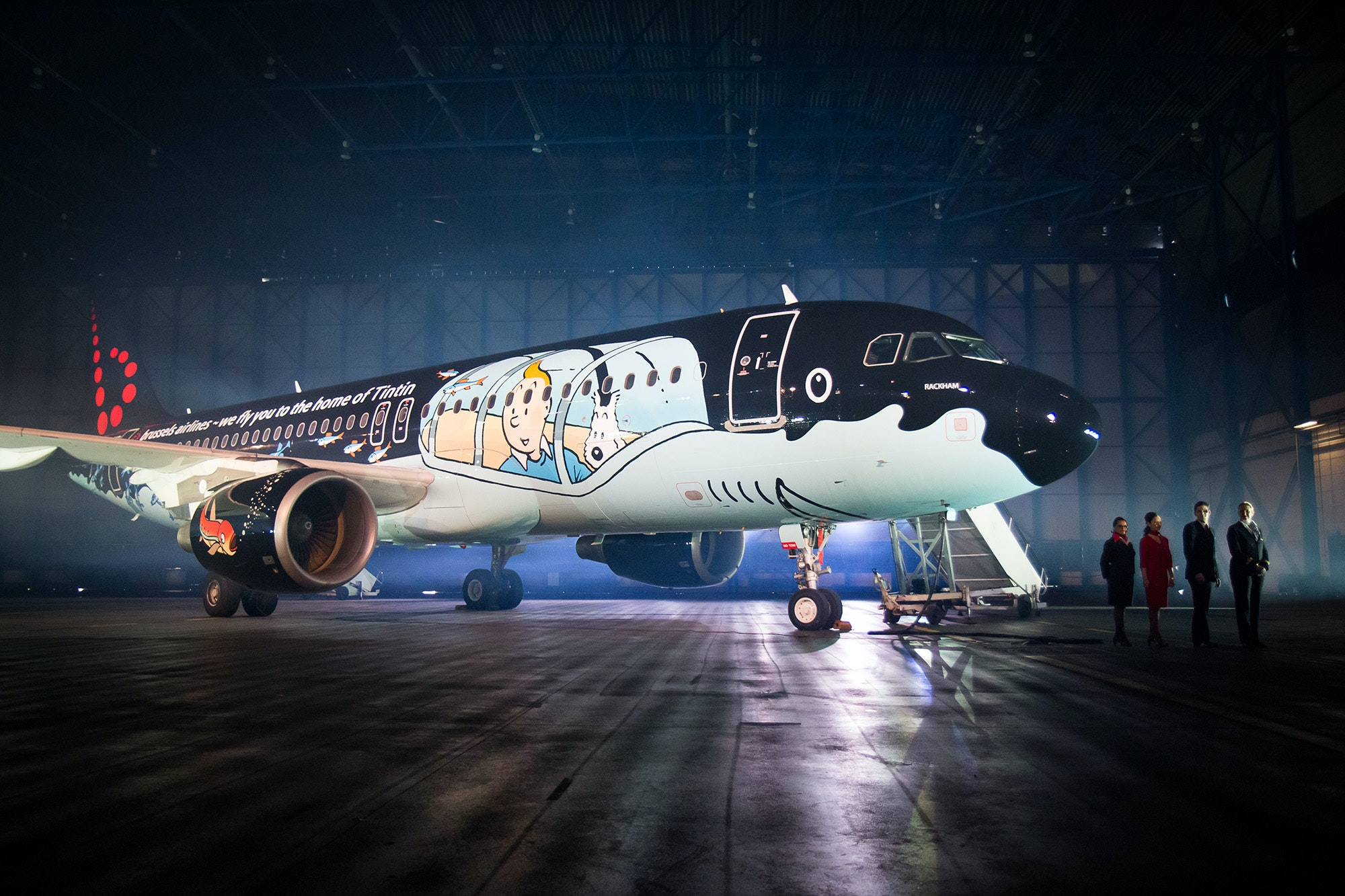 Brussels Airlines painted this Airbus A320 to look like the shark submarine from a Tintin story.