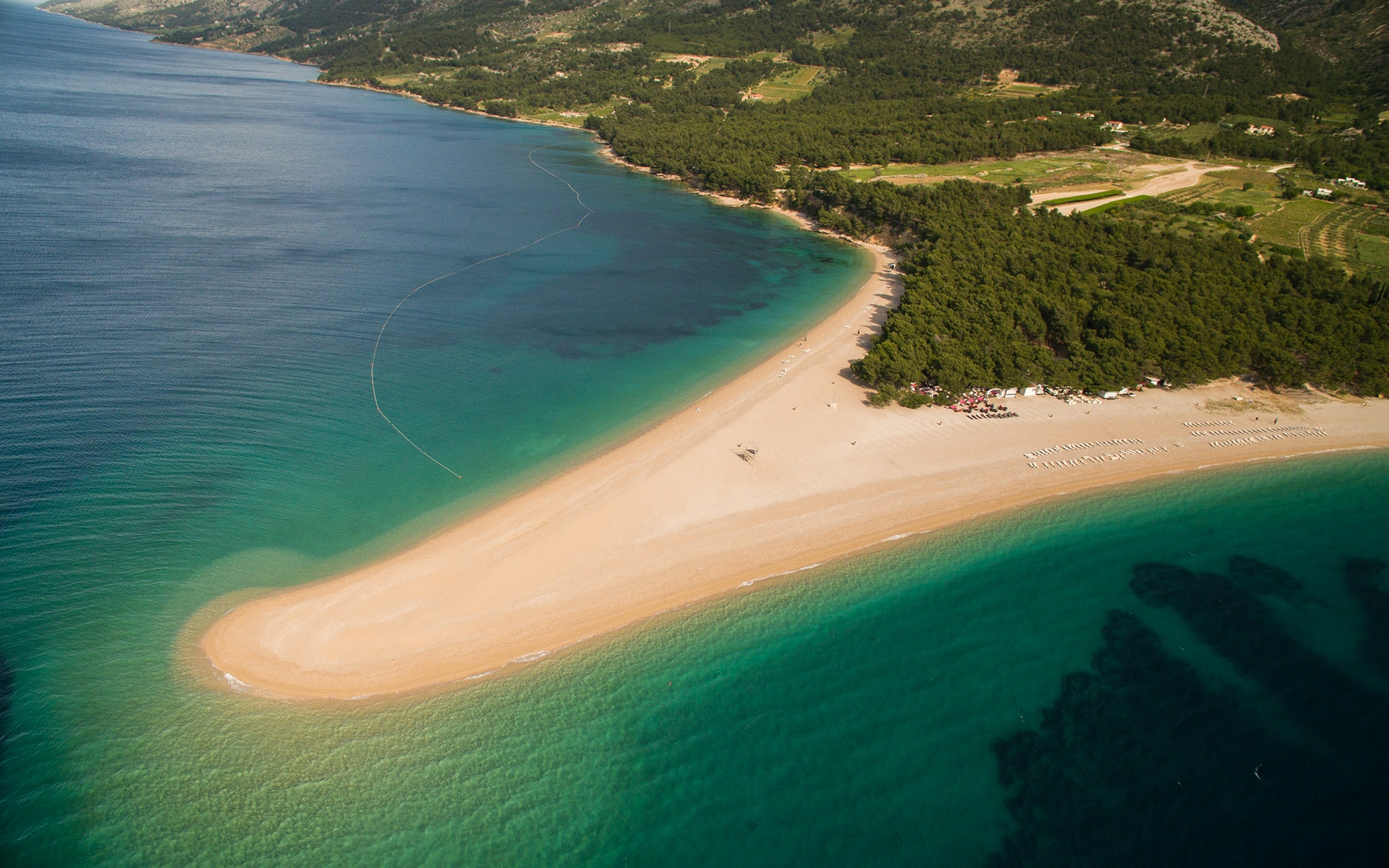 Zlatni Rat is known for its tongue-like shape, which shifts depending on the currents of the Adriatic.