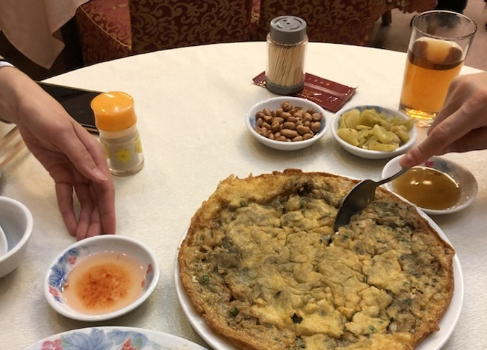 An oyster omelet at Chiu Chow Lok Hau Fook Restaurant in Kowloon, Hong Kong