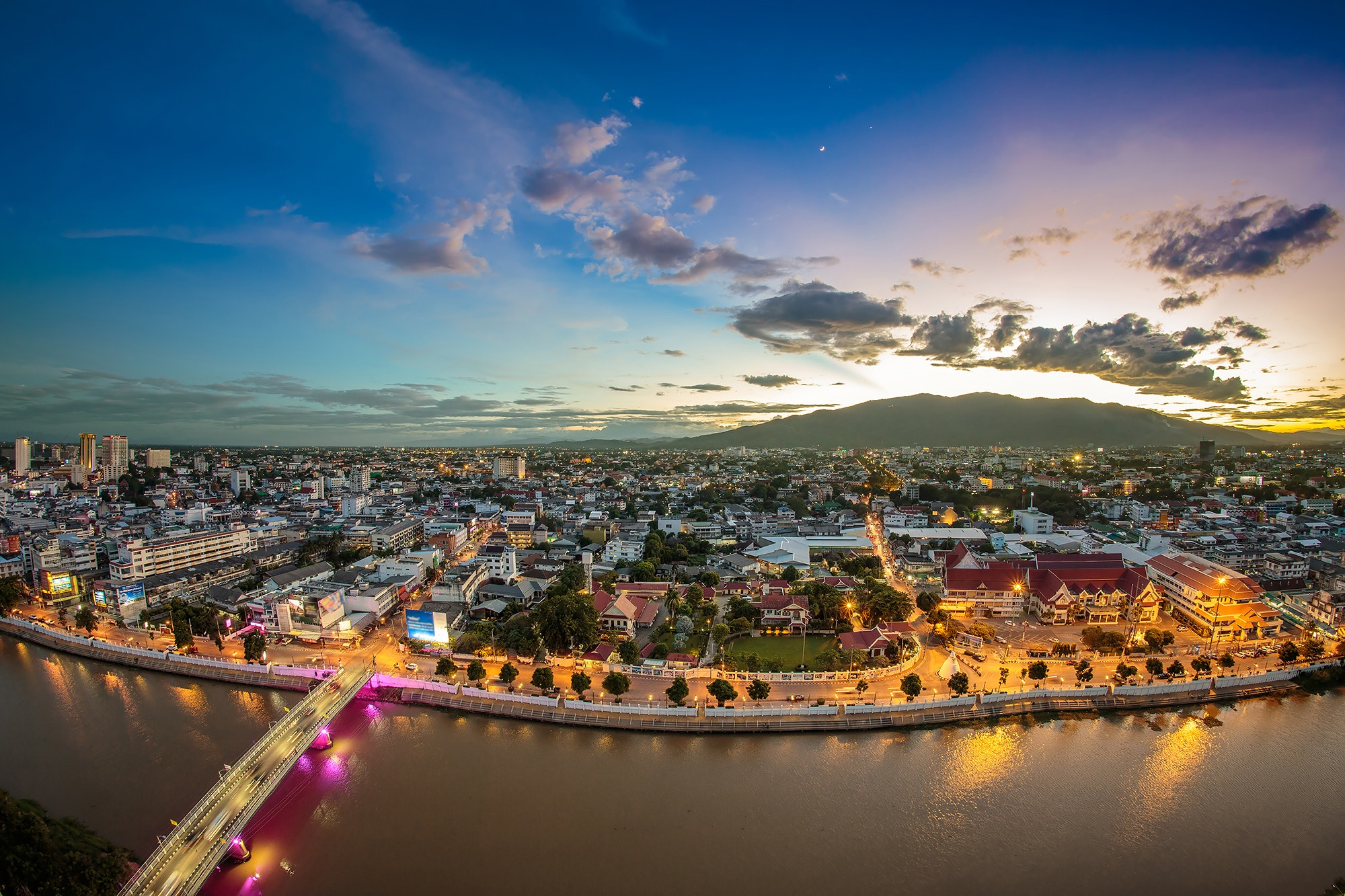 The city of Chiang Mai in Thailand at twilight