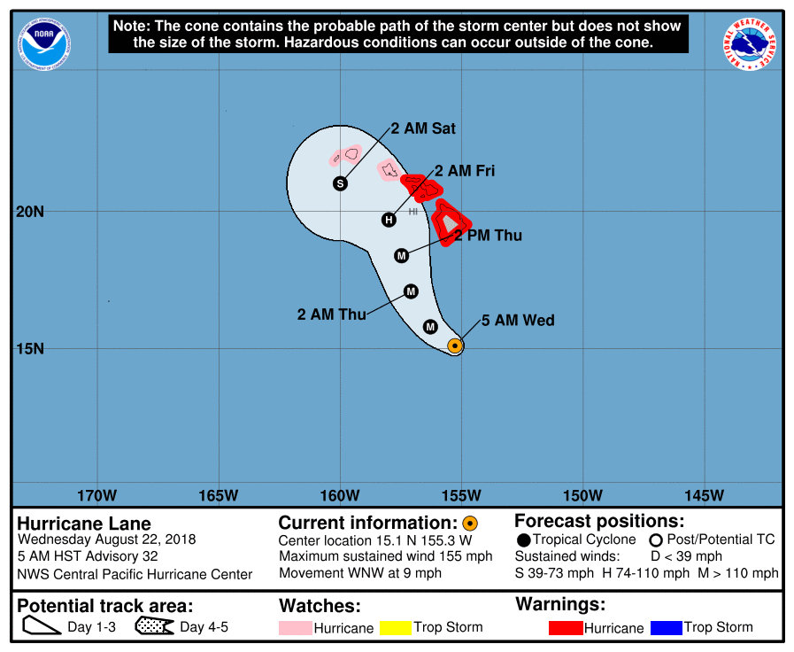 Hurricane Lane's probable path as of Wednesday, August 22