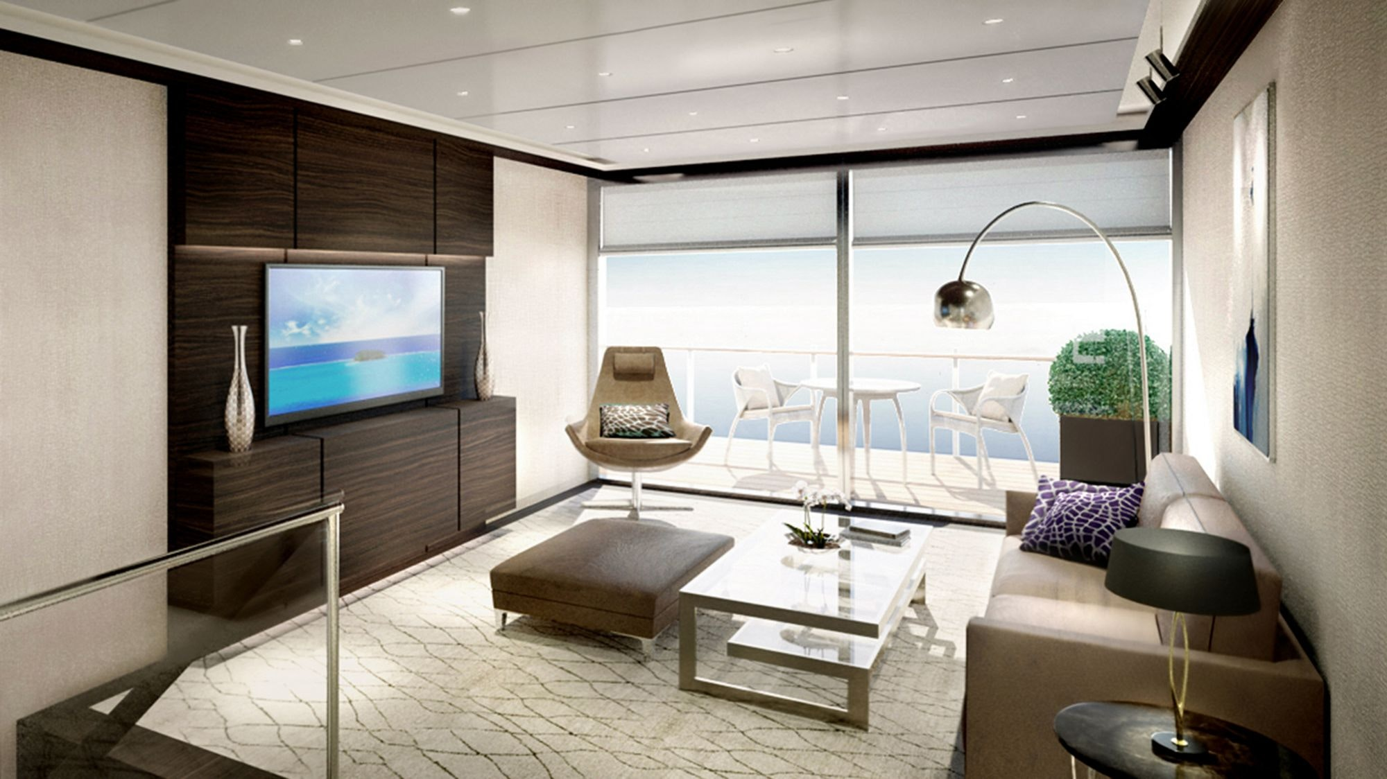 An interior rendering of a Ritz-Carlton Yacht Collection duplex suite