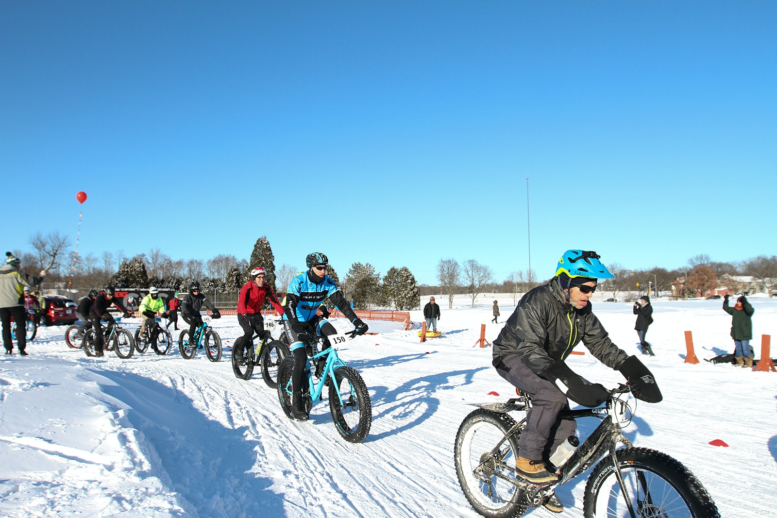 A fat bike race is one of several winter events that make up the annual Madison Winter Festival in Madison, Wisconsin.