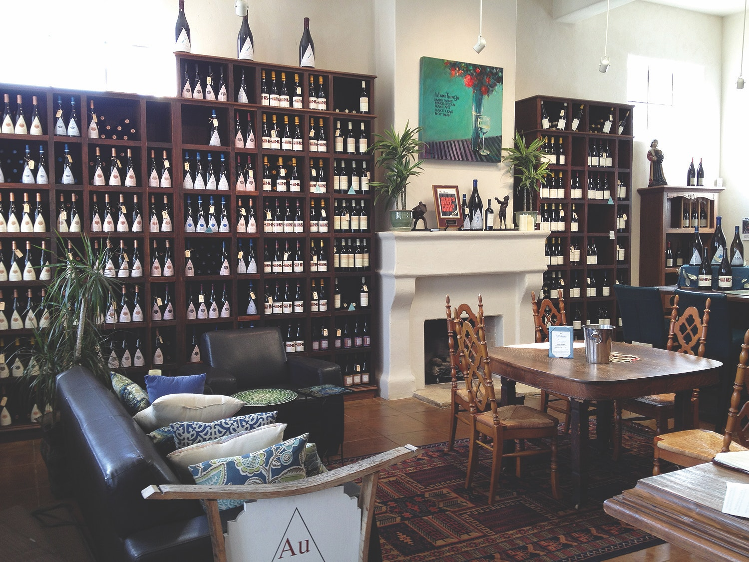 The tasting room at Au Bon Climat doubles as a wine library.