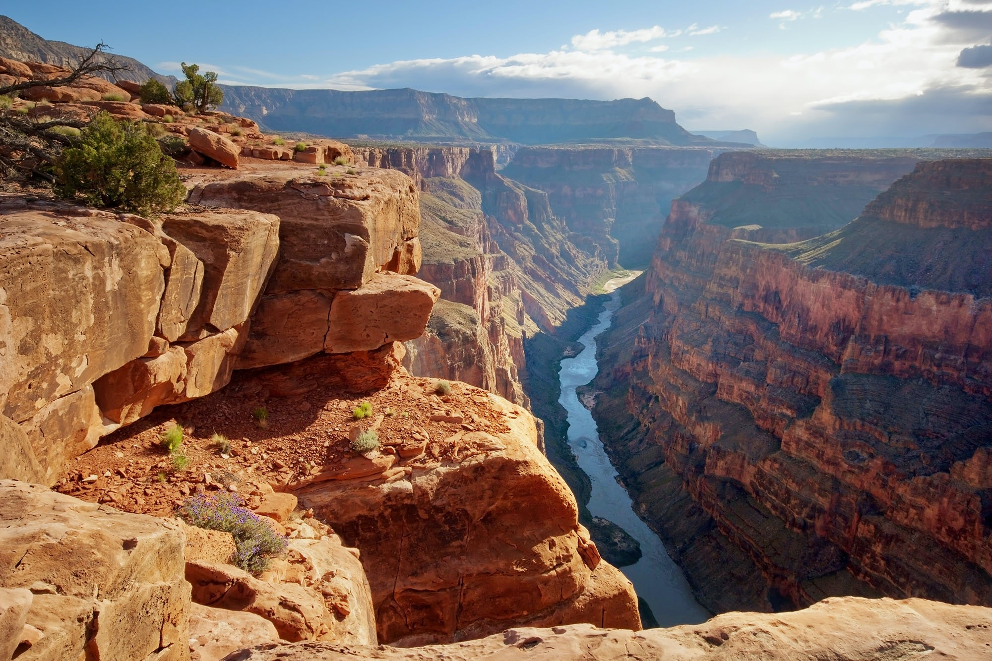 It took millions of years for the Colorado to wear down the surrounding landscape and create the Grand Canyon.