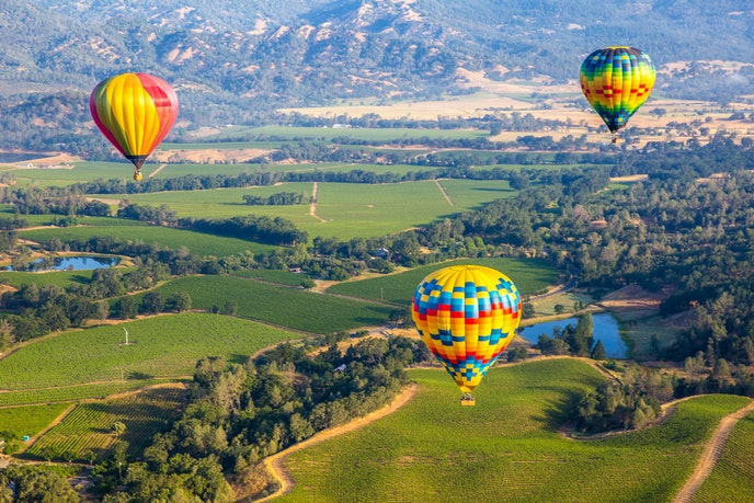 North of San Francisco, the Napa Valley wine region is known for its hundreds of hillside vineyards.