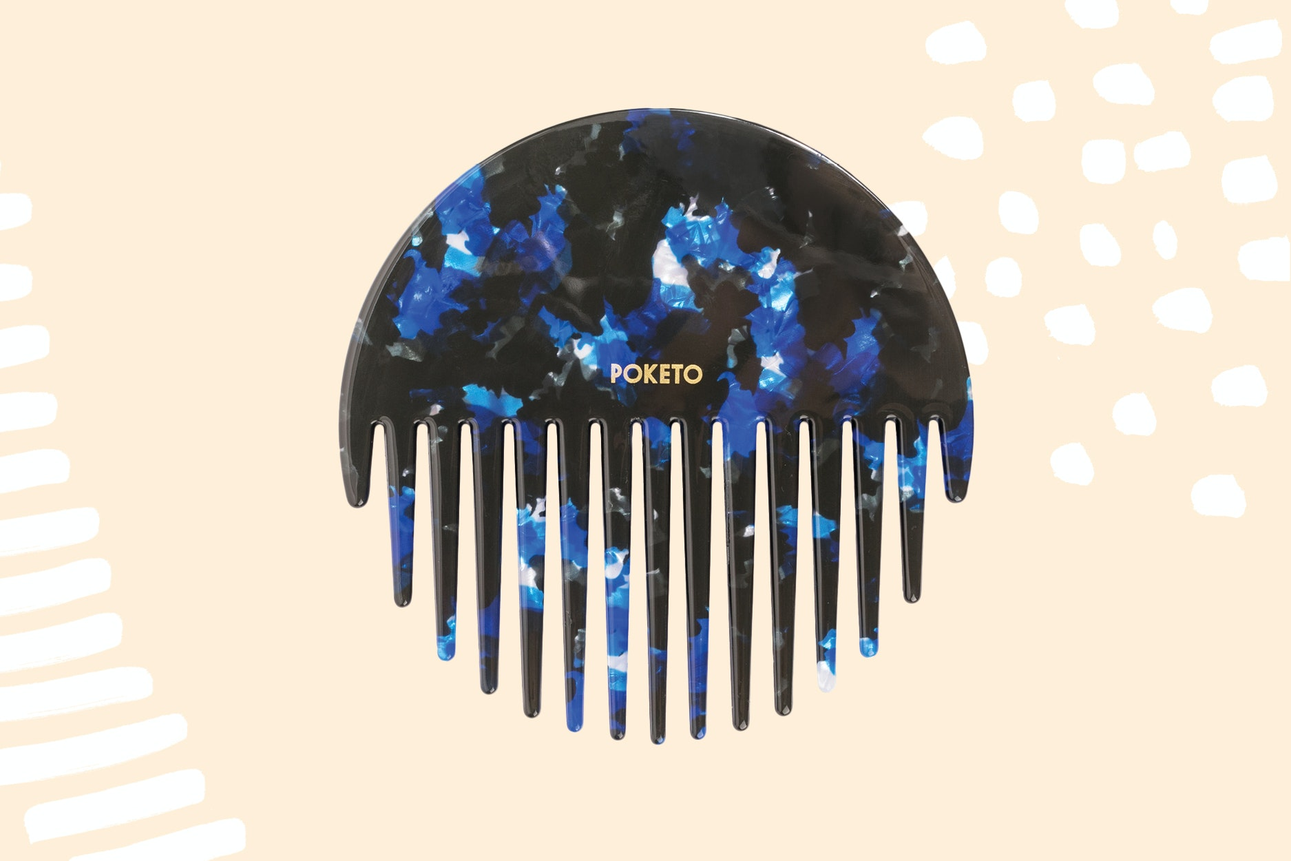 The Poketo circle comb comes in blue (pictured) and pink.