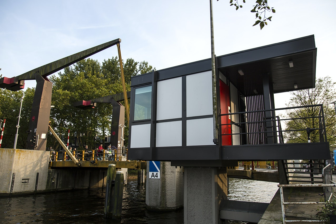 Built in 1974, the Theophile de Bockbrug bridge house is located near Amsterdam's Vondelpark.