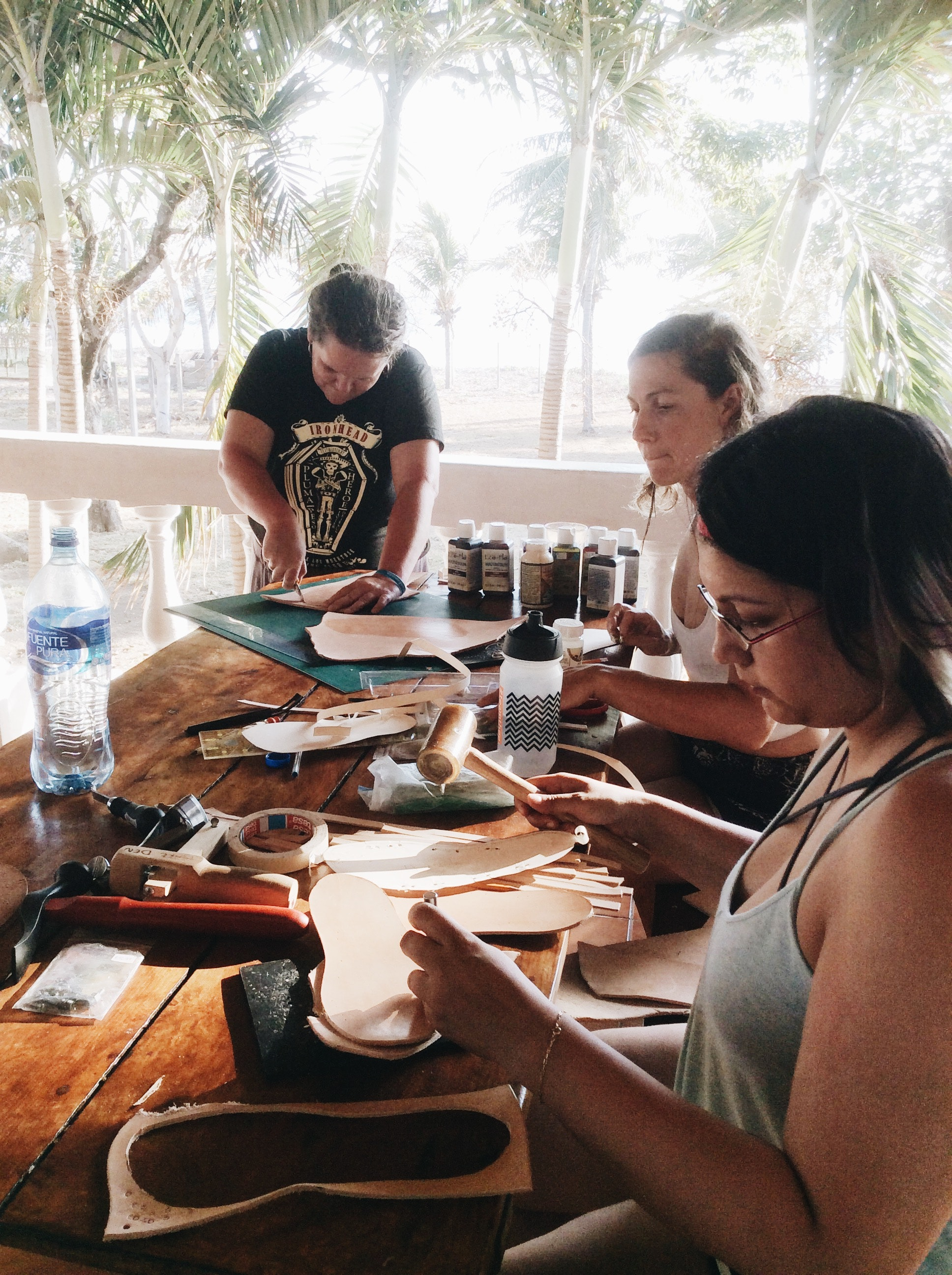 At El Coco Loco's Makers Retreat, crafters learned to make leather sandals.
