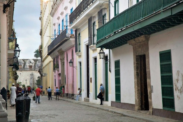 Look closely: On this street in Old Havana, you'll likely see one or more men in Islamic dress as they come and go from the capital's new mosque.