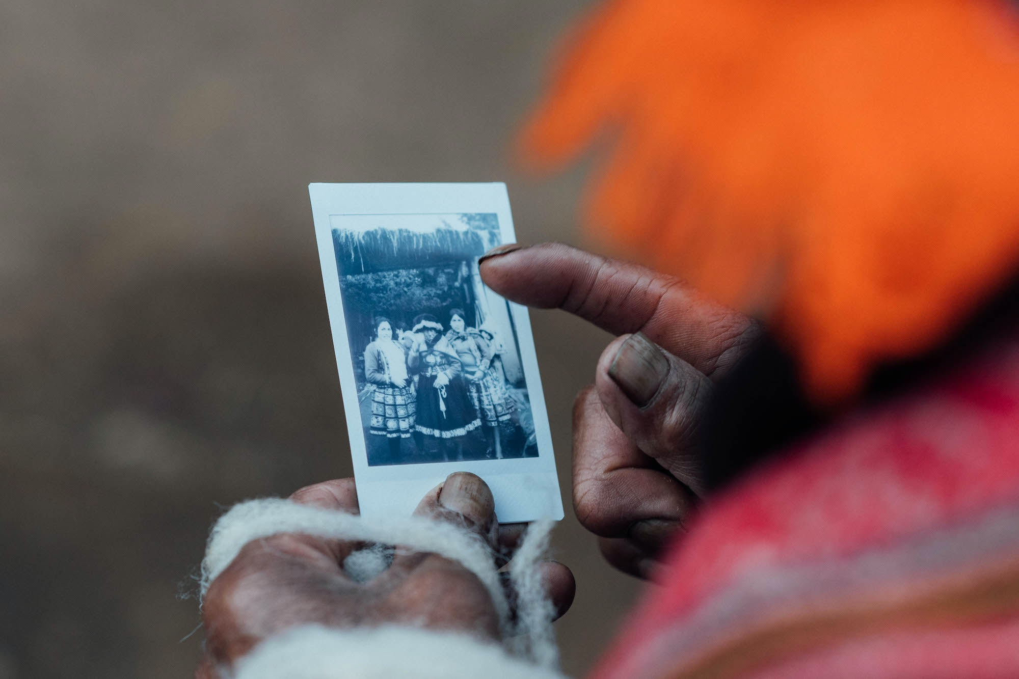 In Peru's Sacred Valley, Laucht photographed indigenous Amaru women and gave them Polaroid portraits in exchange.
