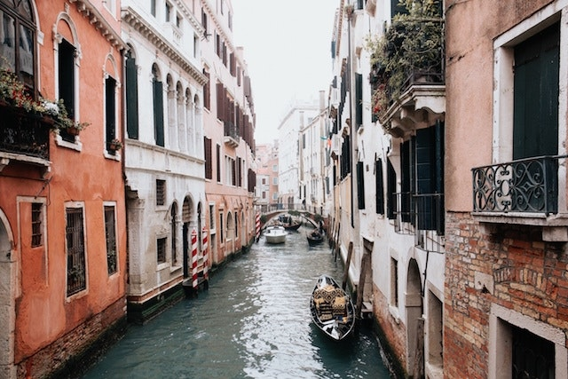 Floating down the canals of Venice, Italy