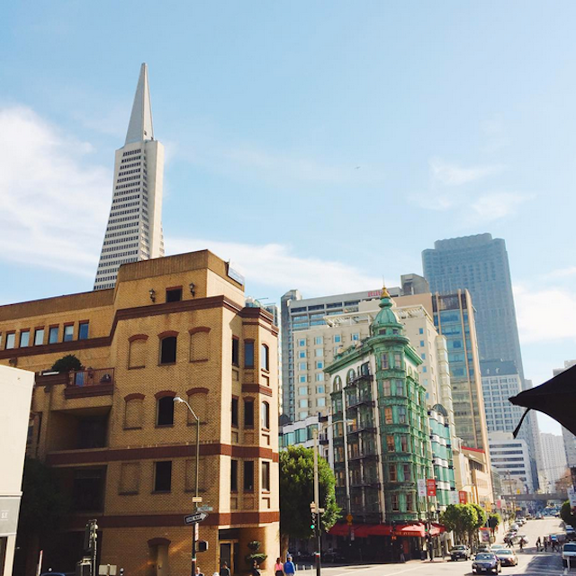 The Transamerica Building and the majestic Sentinel Building make for an iconic SF shot