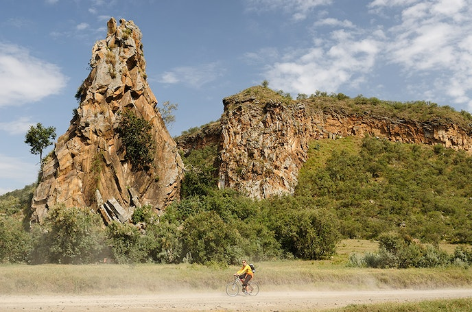 Hell's Gate National Park is about 26 square miles and home to zebras, giraffes, gazelles, and other wildlife.