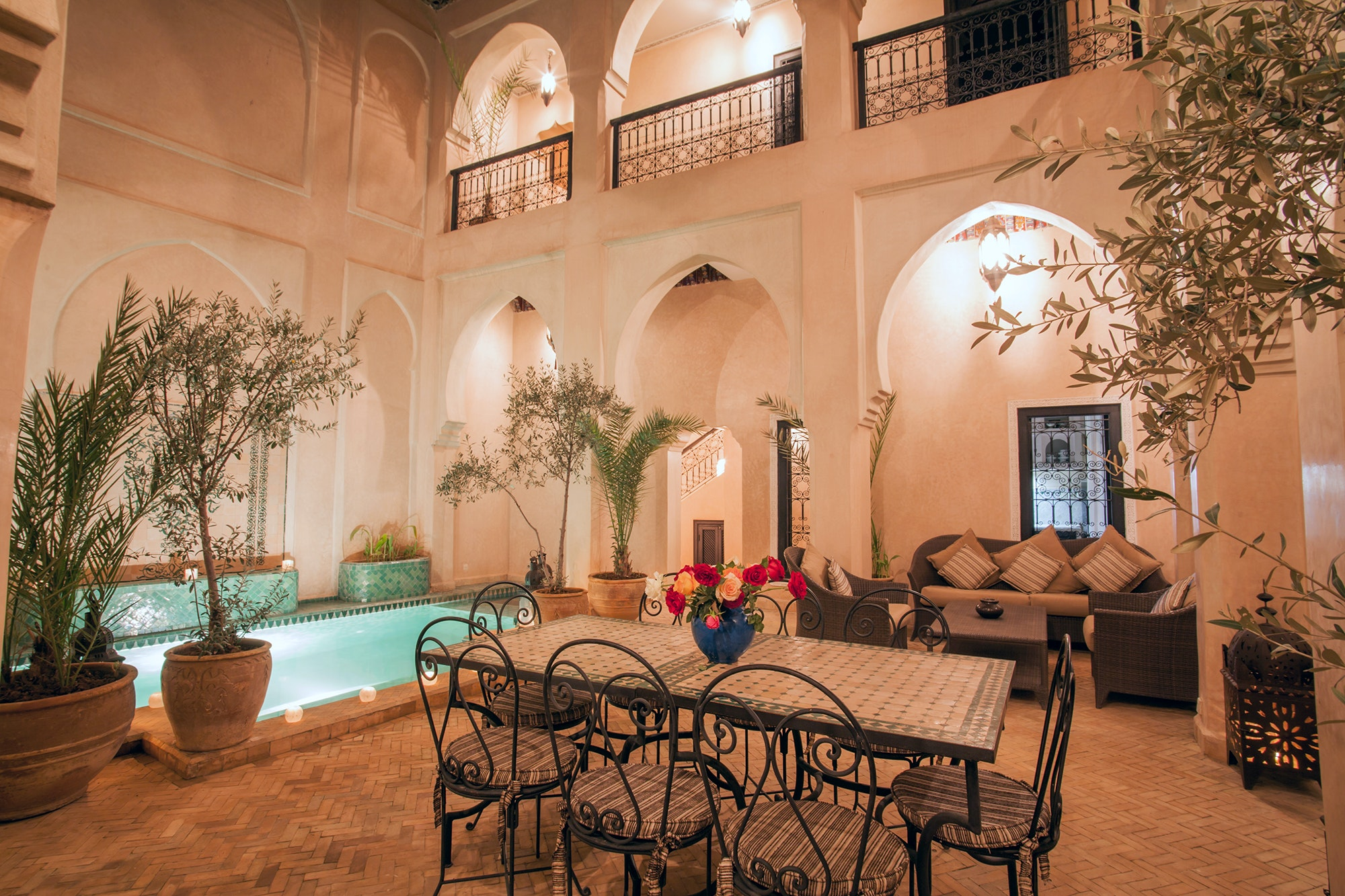 The Maison Dana Marrakech features five bedrooms and a courtyard pool.