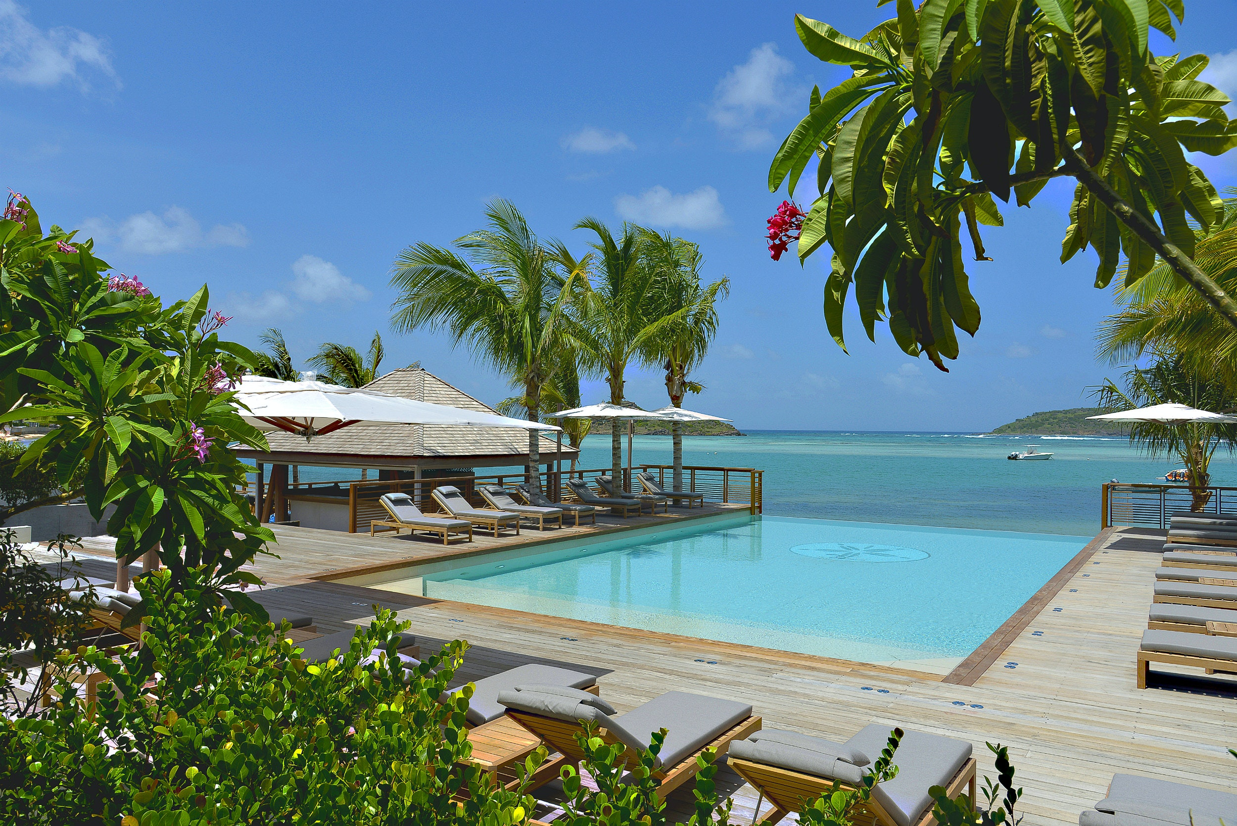 The pool's open at Le Barthélemy Hotel & Spa in St. Bart's.