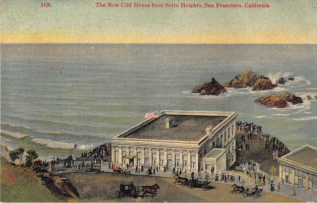 The new Cliff House when horse-drawn buggies were still the main mode of transportation, c. 1910