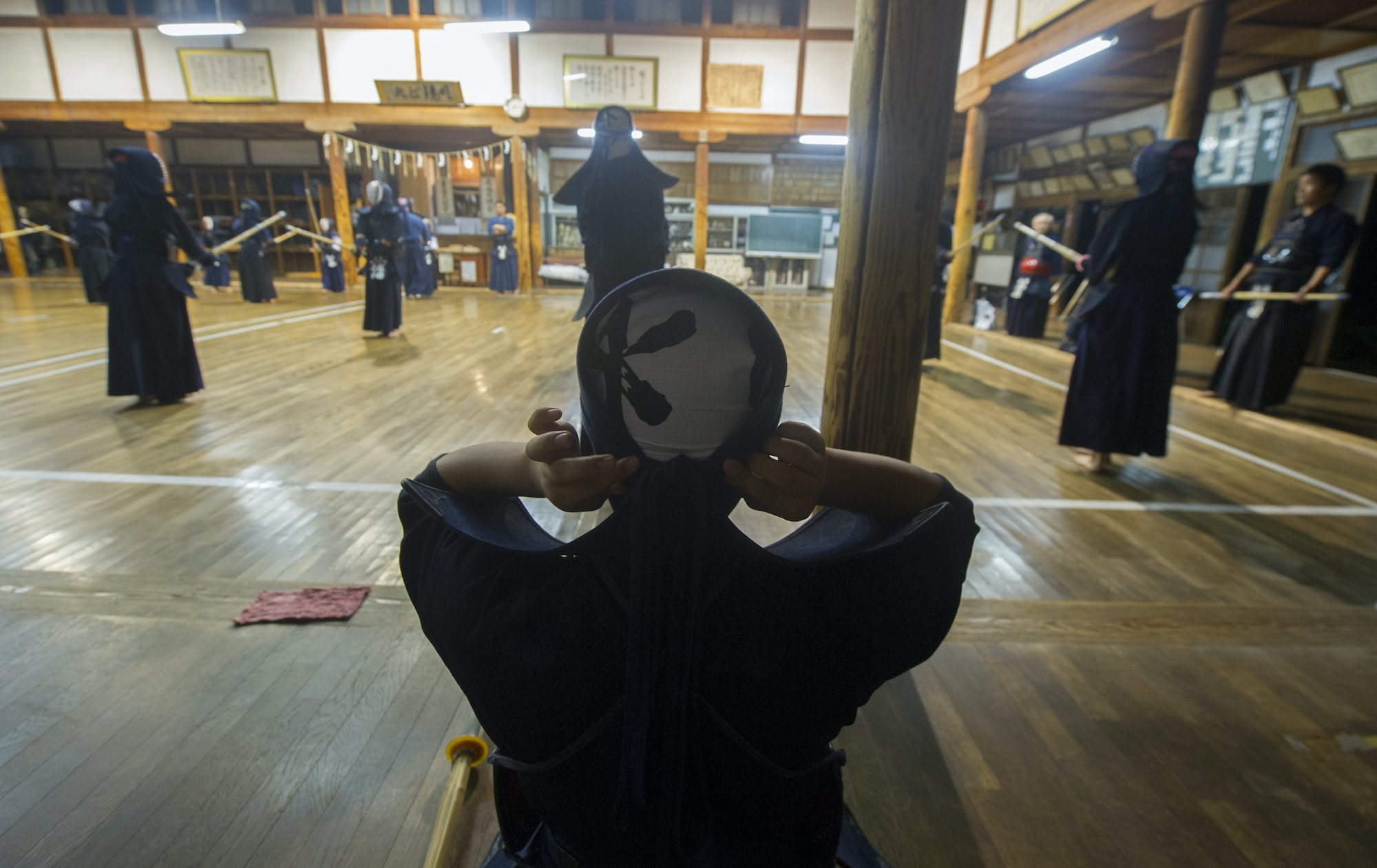 Local children practice kendo swordsmanship at a community center in Japan's Fukushima prefecture.