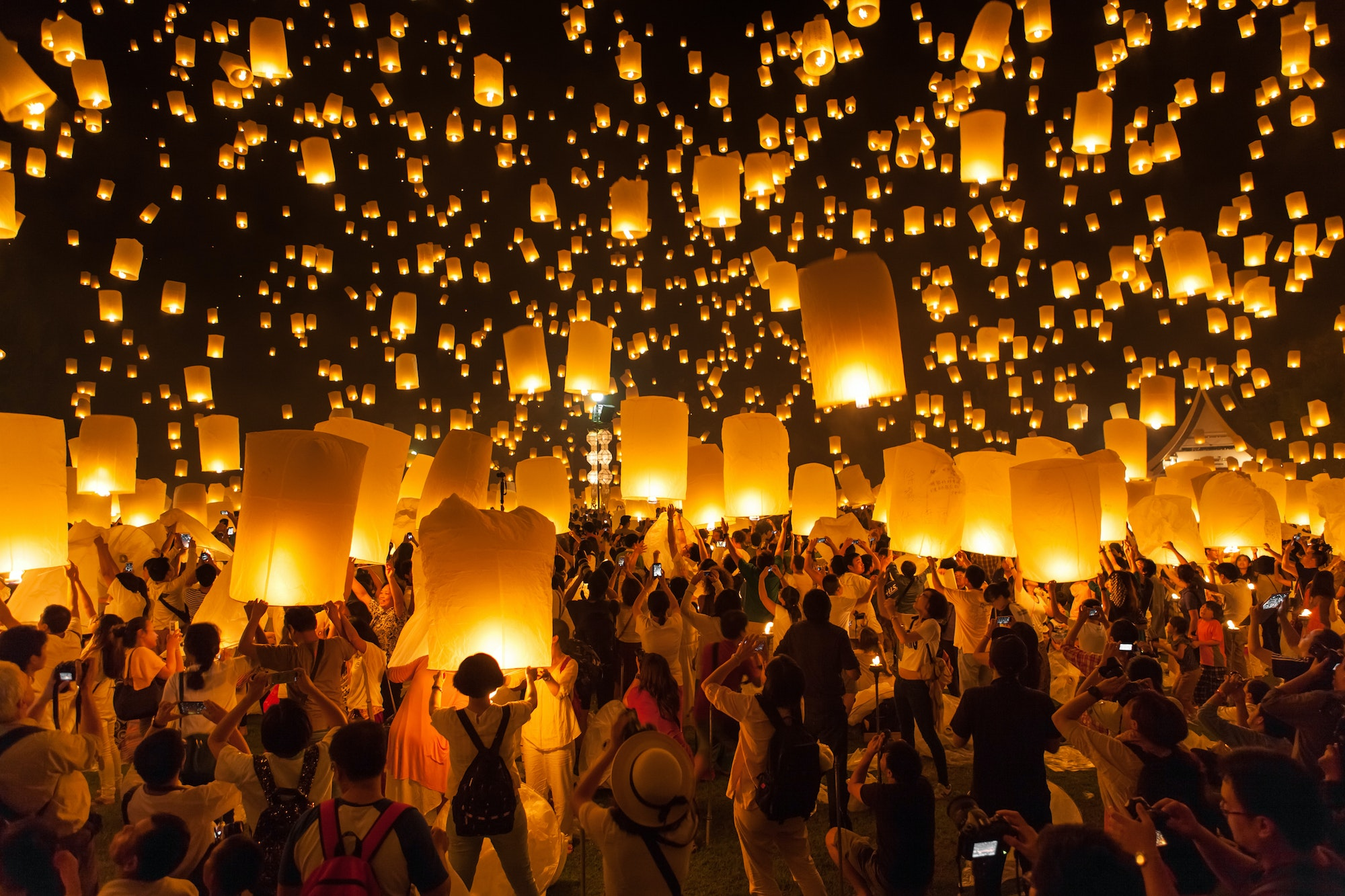 In Buddhist culture, releasing a floating lantern into the sky represents optimism and new beginnings.
