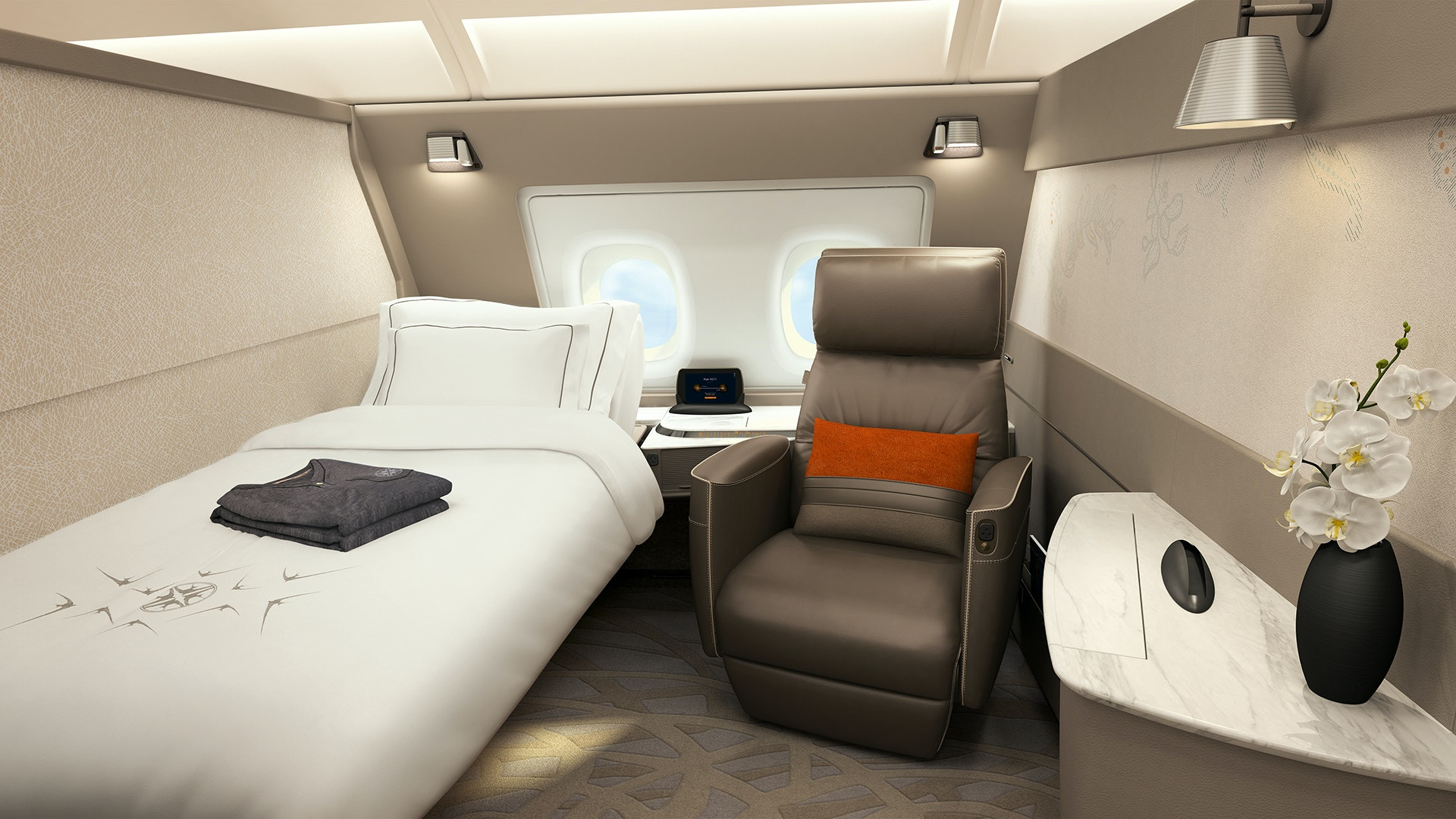 In standard configuration, the A380 Suite features a twin-size bed and a comfy armchair.