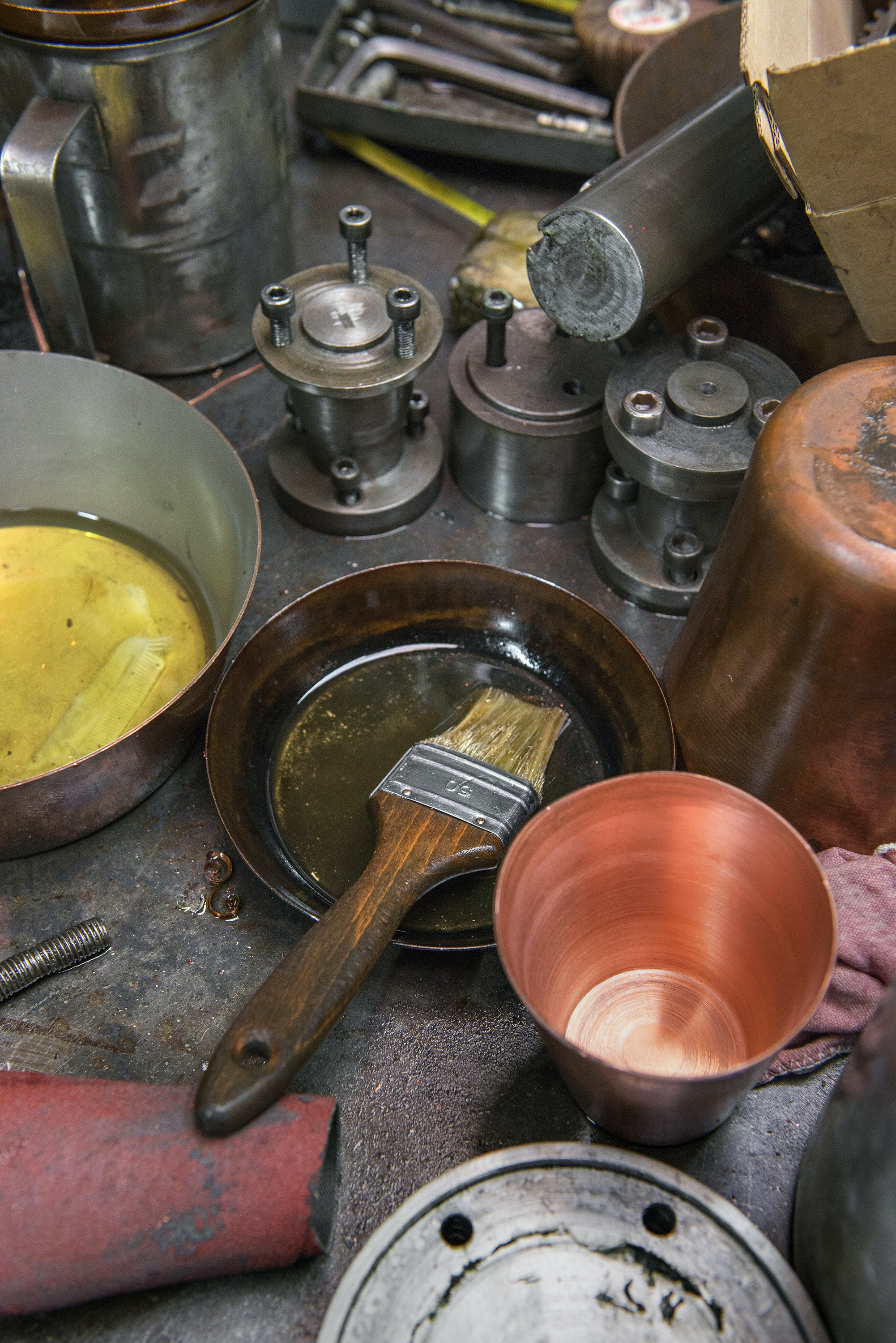 Only a handful of highly skilled artisans in France know how to tin the interior of copper pots, and all of them work at Mauviel.