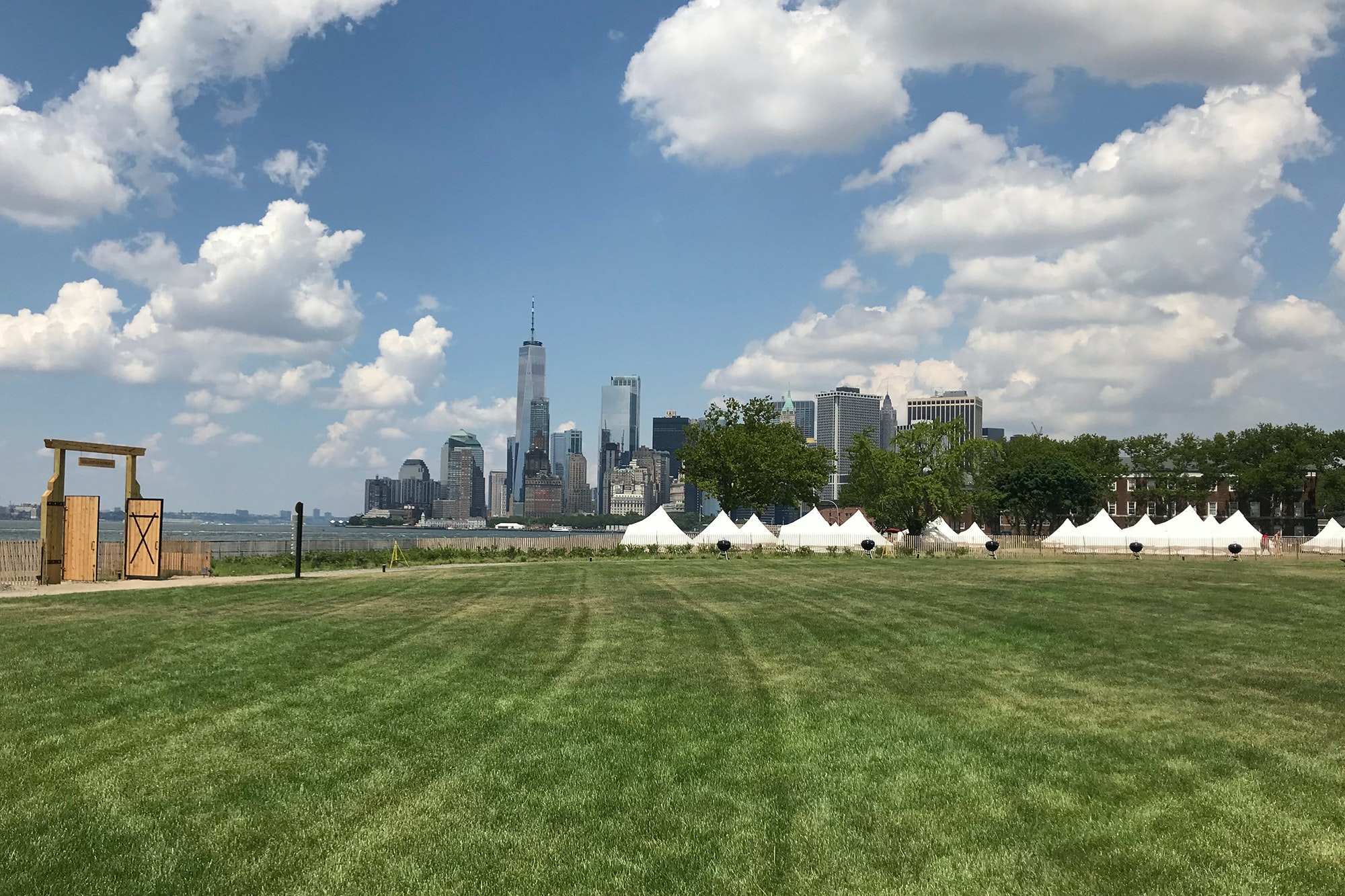 The great lawn at the center of Collective Governors Island