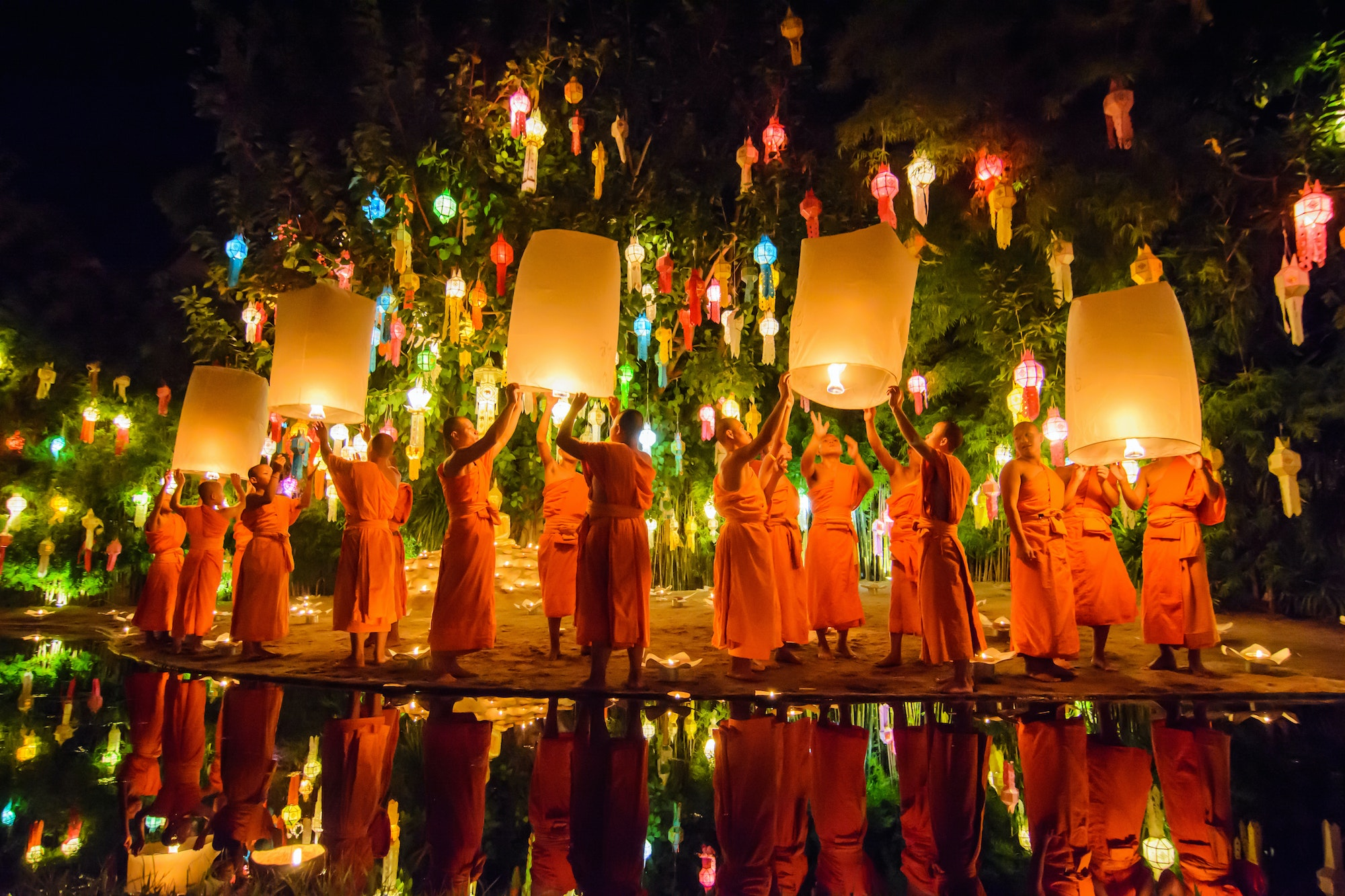 Loi Krathong celebrations, which coincide with the Yi Peng Festival in northern Thailand, take place more broadly across Thailand.
