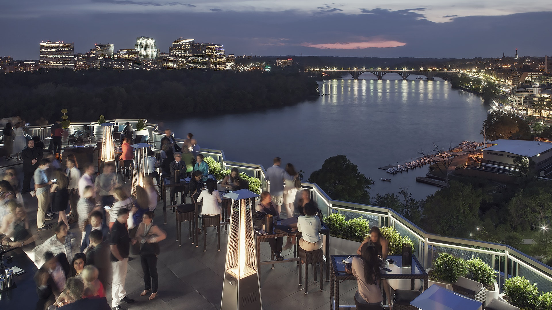 Drink in the Watergate's city and Potomac views.