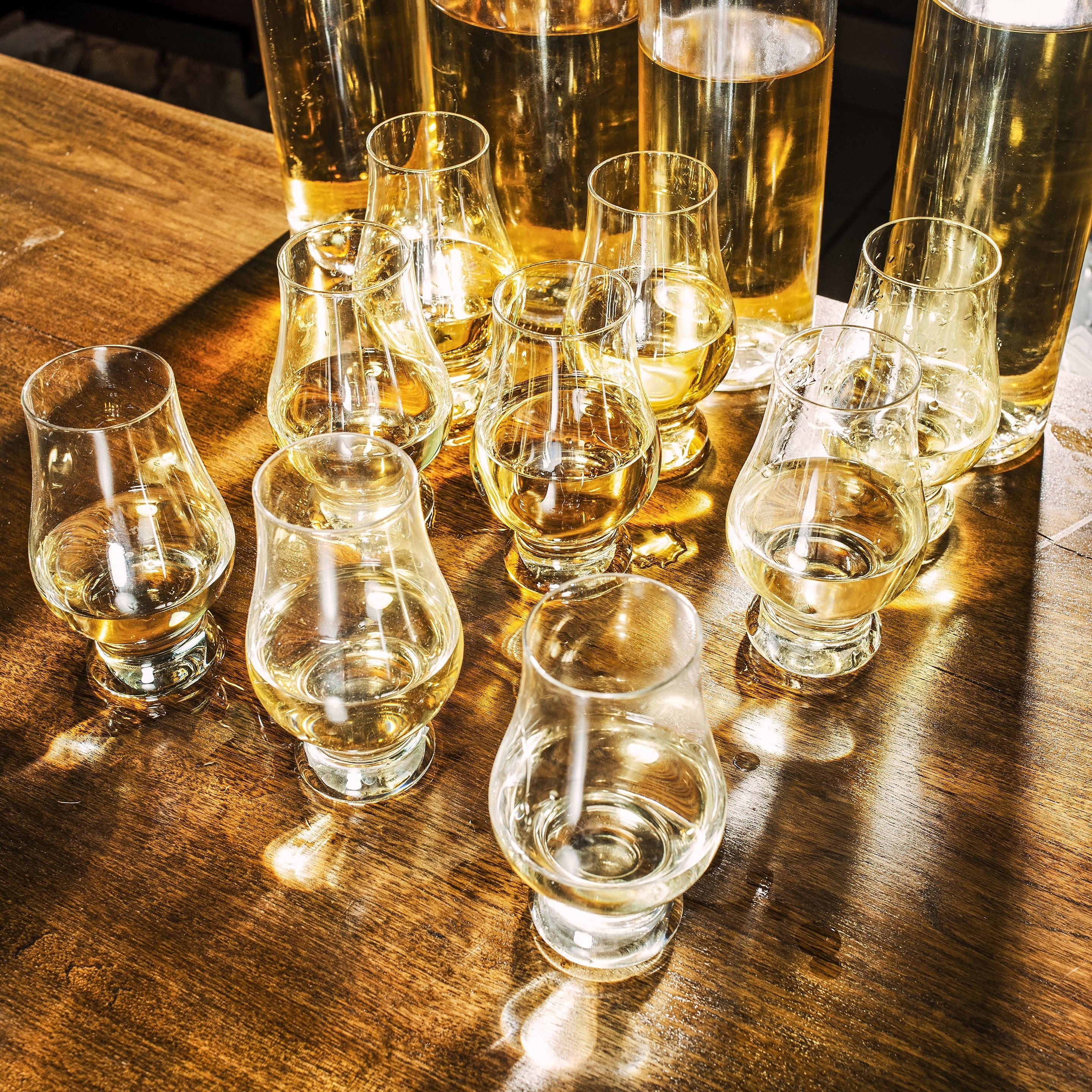Glasses of clairin ready for tasting