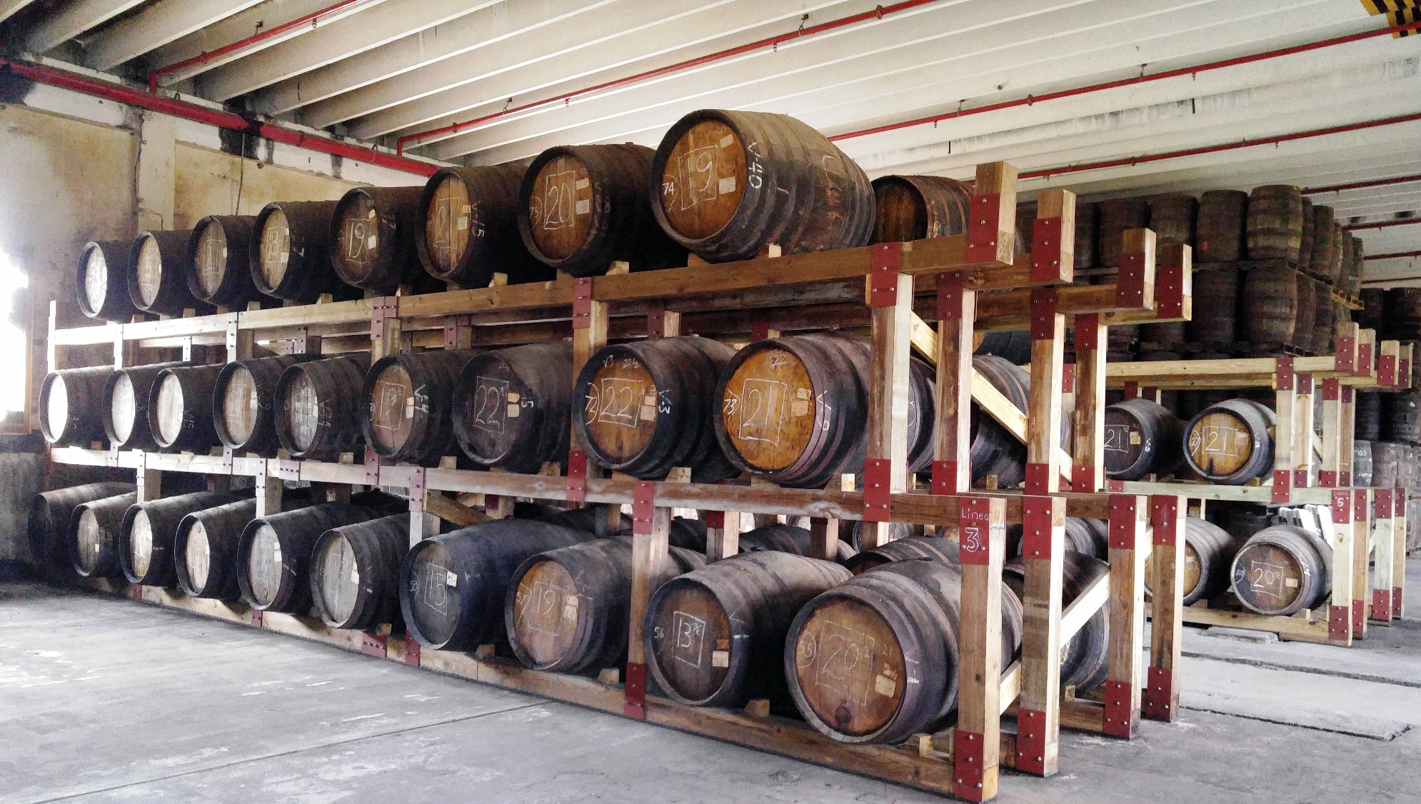 Rum matures in barrels at Don Q in Puerto Rico.