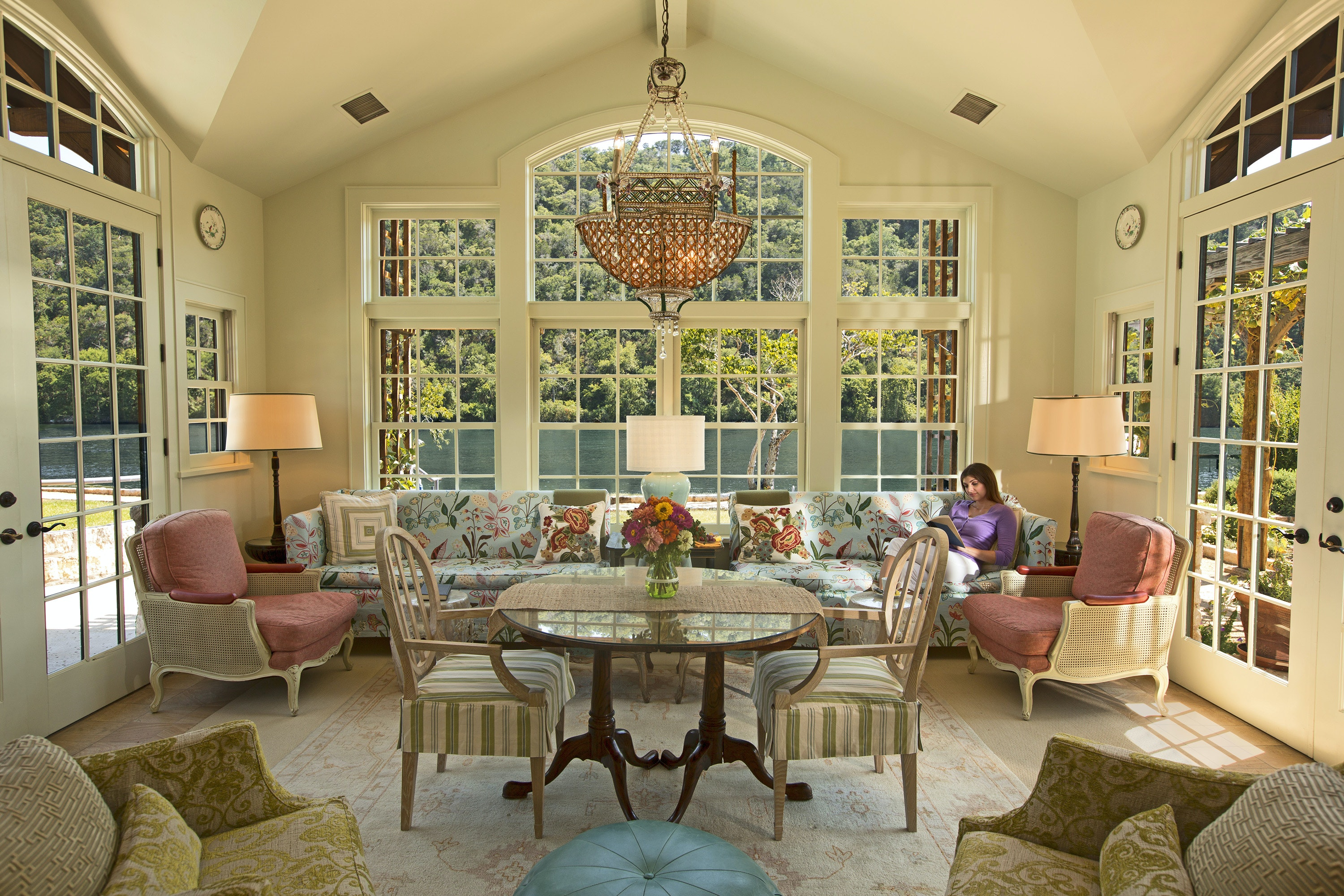 The Garden Library at Lake Austin Spa Resort is filled with signed books from visiting authors.
