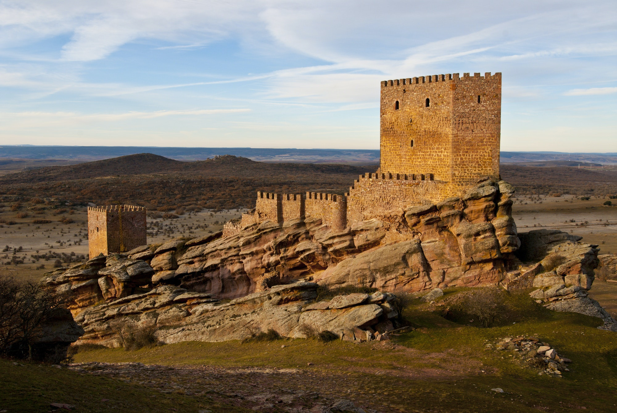 The Castle of Zafra sits at an altitude of 4,600 feet in Spain's Sierra de Caldereros.