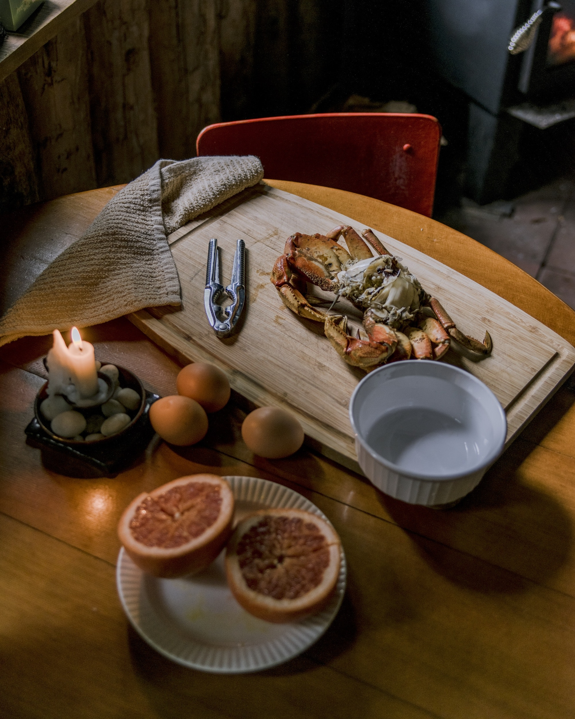 A meal of Dungeness crab at a home in the Haida village of Gaaw.